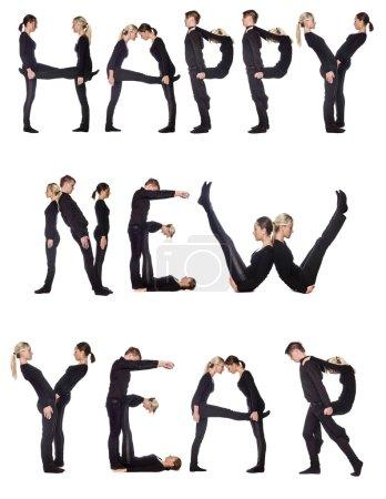 """Photo pour Groupe de formation de l'expression """"Bonne année"""", isolé sur fond blanc . - image libre de droit"""