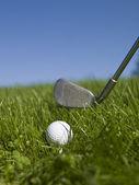 Golfový míček a golfový klub