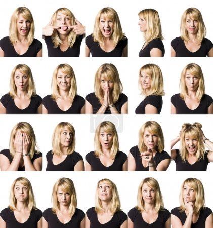 Photo for Twenty portrait of a woman with differnet expressions - Royalty Free Image