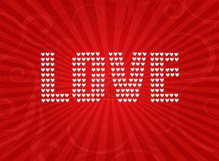 Photo pour Mot amour écrit avec des cœurs sur fond rouge avec des rayons - image libre de droit