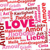 Word love in many different languages in pink and red colors