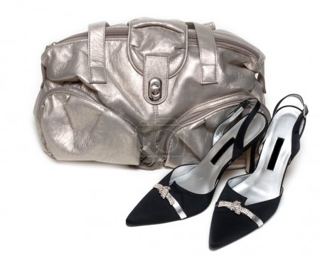 Silvery bag and pair of the loafer