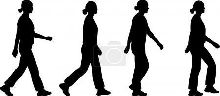 Illustration pour Silhouettes de fille marchant - vecteur - image libre de droit