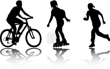 Illustration for Recreation silhouettes - vector - Royalty Free Image