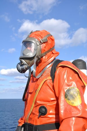 Man in protectiv suit