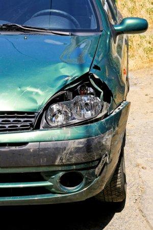 Green car wreck