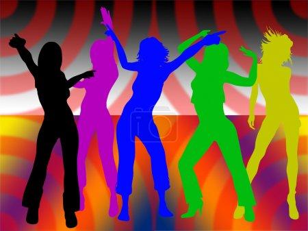 Photo pour Filles dansantes sur fond coloré - image libre de droit