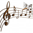 Musical notes 3D render isolated on white...