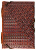 Diary in a red stamped leather