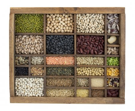 Photo for Vintage, wooden typesetter case with variety of beans, lentils, peas, grains and seeds isolated with clipping path - Royalty Free Image