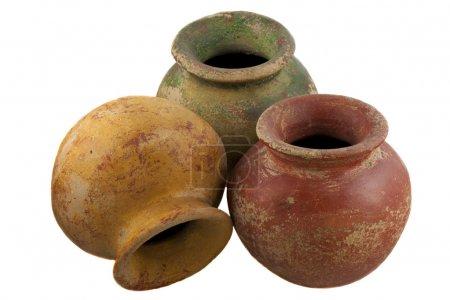Red, green and yellow clay plant pots