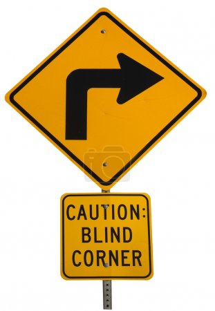 Blind corner turning warning sign