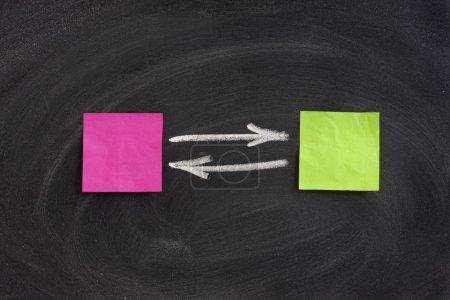 Photo pour Concept d'interaction ou de feedback présenté avec des notes collantes ébréchées vierges sur le tableau noir, gommer les motifs de taches - image libre de droit