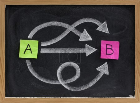 Photo for Multiple ways for going from A to B, reaching destination or solution, alternatives - concept presented with sticky notes, white chalk on blackboard - Royalty Free Image