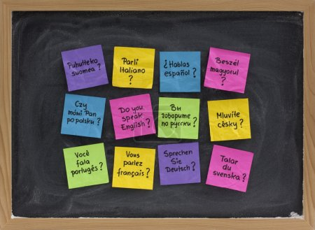 Photo for Do you speak question in dozen of languages - colorful sticky notes on blackboard with white chalk smudges - Royalty Free Image