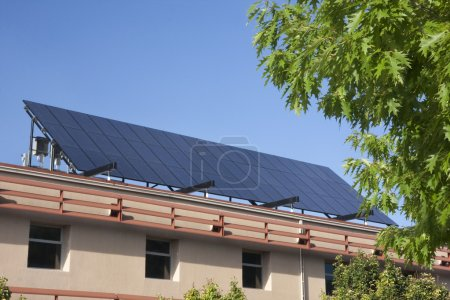Large solar panel on building roof