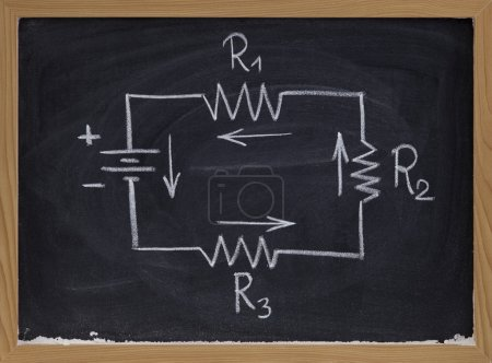Electric circuit schematic on blackboard