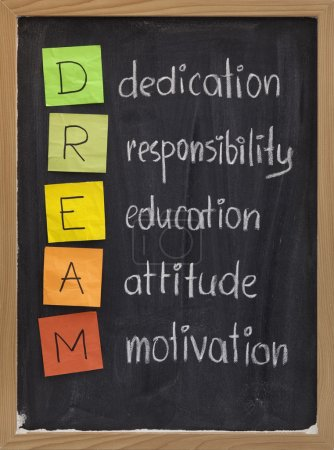 Photo for Dedication, responsibility, education, attitude, motivation - DREAM acronym explained on blackboard with color sticky notes and white chalk handwriting - Royalty Free Image