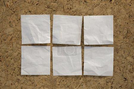 Six blank white reminder notes