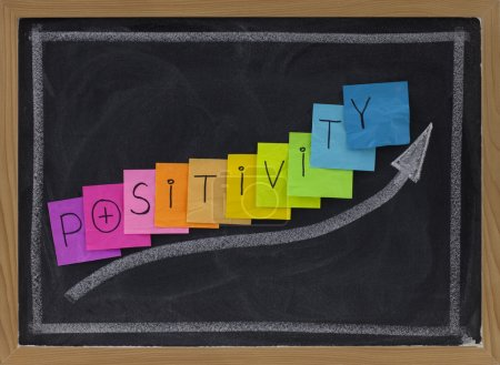Photo for Positivity concept on blackboard - color sticky notes and white chalk drawing - Royalty Free Image