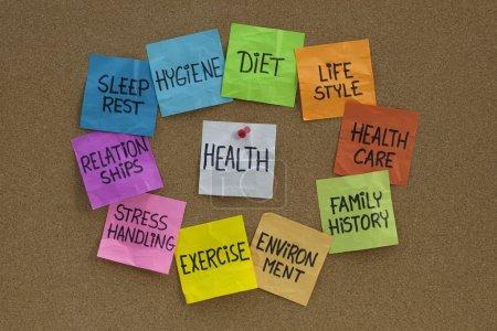 Photo pour Concept santé - nuage de mot ou un cercle de facteurs (alimentation, mode de vie, Healthcare, antécédents familiaux, environnement, exercice, stress, relations, sommeil, - image libre de droit