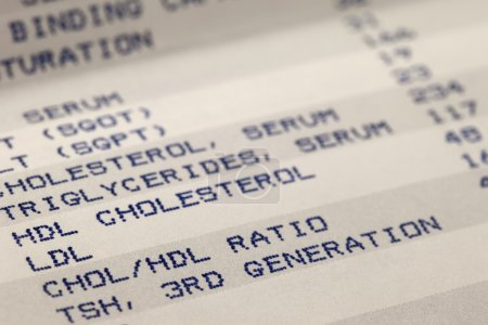 Detail of blood screening results printing with fo...
