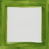 Green frame on white canvas