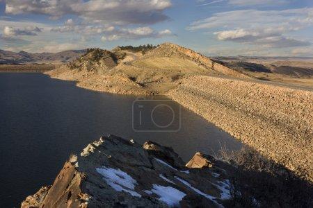 Dams of mountain reservoir in Colorado