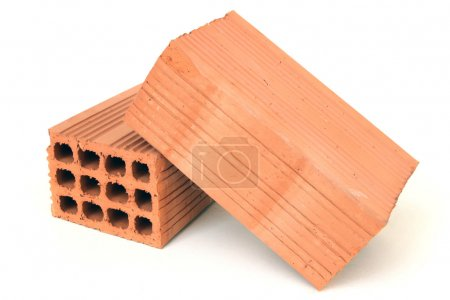 Photo for Construction element two red bricks isolated on white background - Royalty Free Image