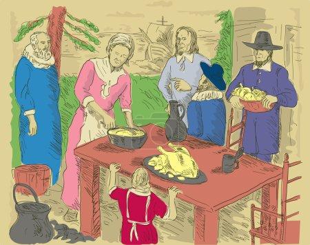 Pilgrims first thanksgiving dinner