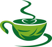 Green leaf cup of coffee