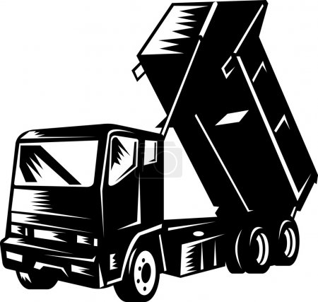 Illustration of a dump truck isolated on white ret...