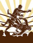 Boxer knockout boxing ring