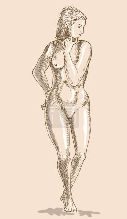 Drawing female human anatomy figure