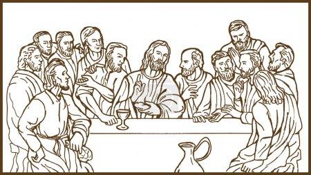Photo pour Illustration de la dernière Cène de Jésus christ le Sauveur et ses disciples - image libre de droit