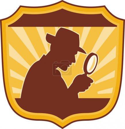Photo pour Illustration d'un inspecteur-détective mâle avec une loupe placée à l'intérieur d'un bouclier - image libre de droit