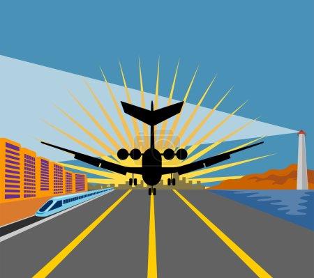 Jumbo jet runway train lighthouse