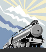 Steam train locomotive with mountains