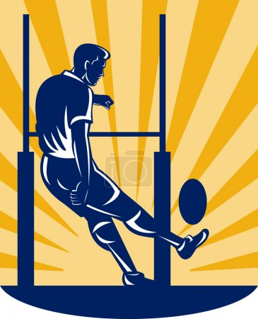 Illustration of a rugby player kicking at goal pos...