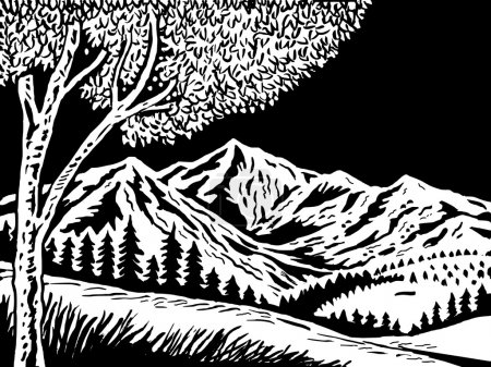 Photo for Illustration of a Mountain scene with tree in foreground done in black and white - Royalty Free Image