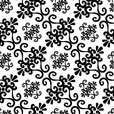 Illustration for Seamless black ornament vector pattern - Royalty Free Image