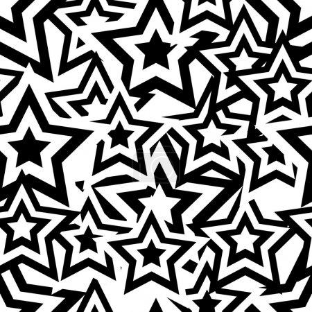 Illustration for Retro black and white seamless pentagram background - Royalty Free Image