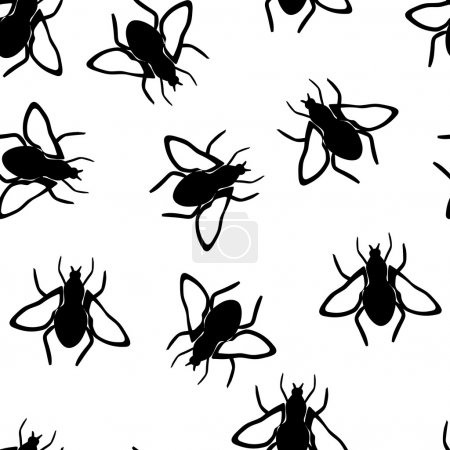 Illustration for Vector seamless wallpaper with fly - Royalty Free Image