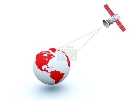 Photo pour Terre rouge satellite isolé sur blanc - image libre de droit