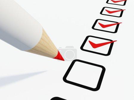 Checklist with pen