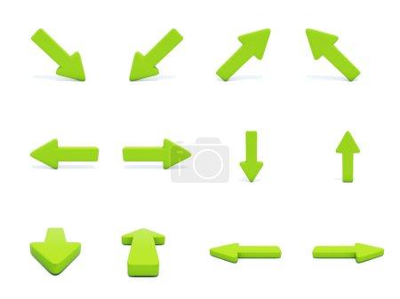 Photo pour Directions différentes flèches vertes isolés sur blanc - image libre de droit