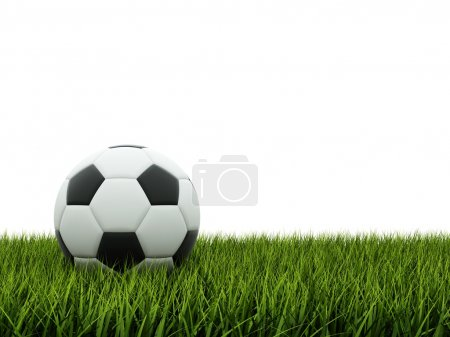 Black and white football on grass