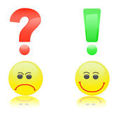Smiles with question and exclamation marks above them