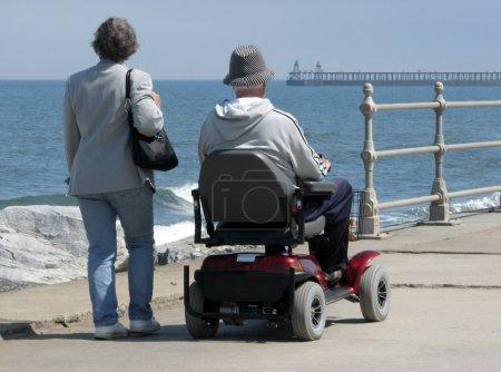 Motorized wheelchair user