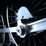 Close up of steam railway engine wheels...